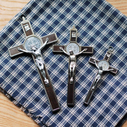 Handmade Italian wall crucifxes with St. Benedict design from The Catholic Woodworker