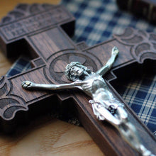 Close up of the premium wooden crucifix with the Pardon Design from the Catholic Woodworker
