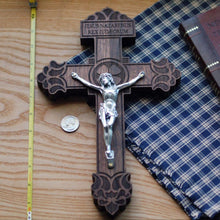 Premium wooden crucifix with the Pardon Design with ruler for comparison from the Catholic Woodworker