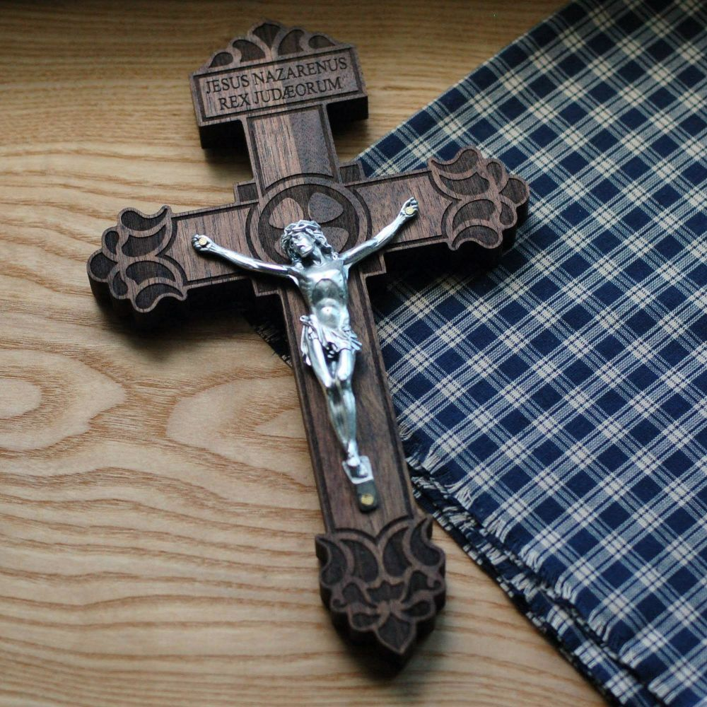 Premium wooden crucifix with the Pardon Design from the Catholic Woodworker