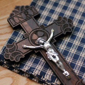 Close up of the standard wooden crucifix with the Pardon Design from the Catholic Woodworker