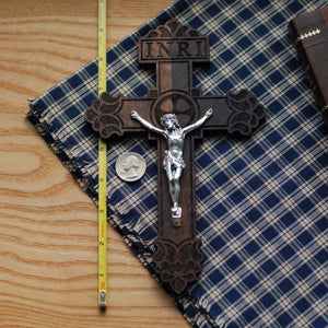 Standard wooden crucifix with the Pardon Design with ruler for comparison from the Catholic Woodworker