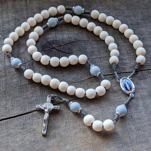 Handmade wooden women's rosary featuring Our Lady of Grace by The Catholic Woodworker