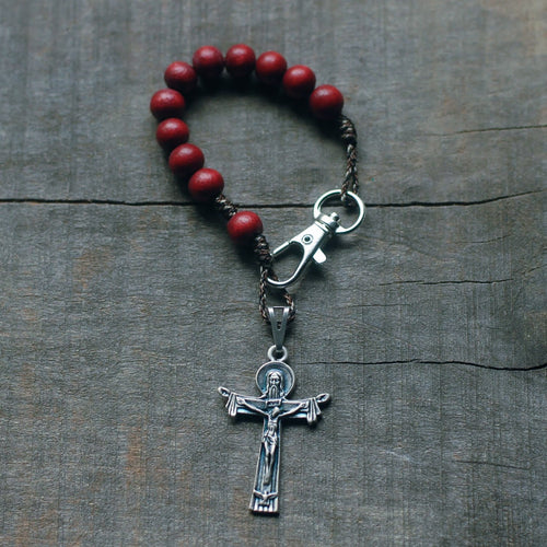 Handmade Wooden Pocket Rosary - Assorted Silver Color Designs