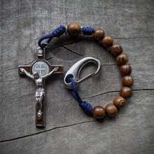 Handmade wooden pocket rosary in Navy by The Catholic Woodworker