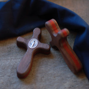 Handmade Wooden Pocket Cross - Layered Design