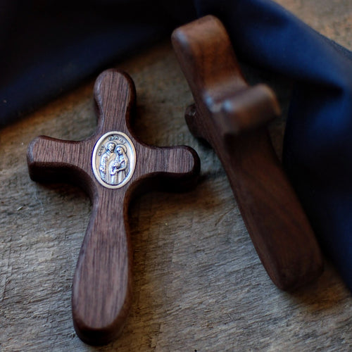 Handmade Wooden Pocket Cross - Walnut Design