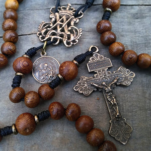 Bronze and wood custom rosary with Pardon Crucifix from The Catholic Woodworker