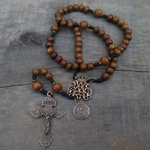 Bronze and brown wood Pardon handmade rosary from The Catholic Woodworker