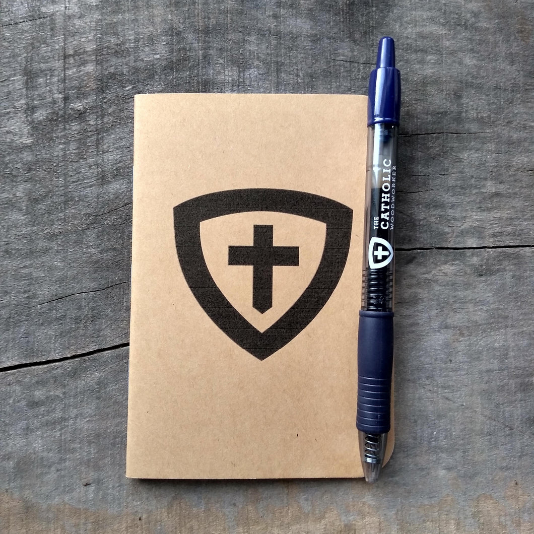 Pocket Examen Catholic prayer journal and pen from The Catholic Woodworker.