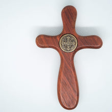 St. Benedict pocket-sized handmade cross from The Catholic Woodworker