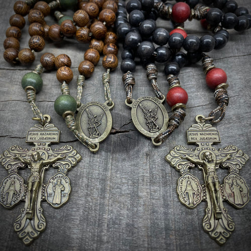 Handmade Wooden Rosary - St. Michael Classic Design - Bronze Color