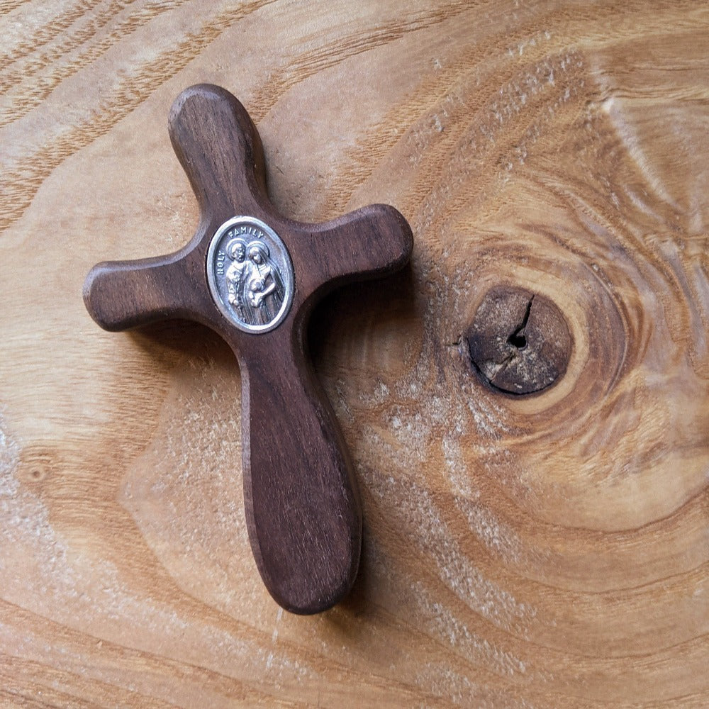 Handmade wooden pocket cross featuring Holy Family medal by The Catholic Woodworker