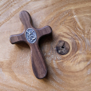 Handmade wooden pocket cross featuring St. Michael medal by The Catholic Woodworker