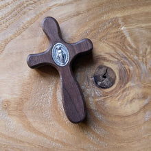 Handmade wooden pocket cross featuring Miraculous medal by The Catholic Woodworker