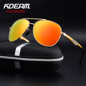 KDEAM Aluminum Magnesium Men's Polarized Sun glasses Reflective Coating Mirror Male Eyewear Sunglasses Goggle Oculos For Men-Free Shipping