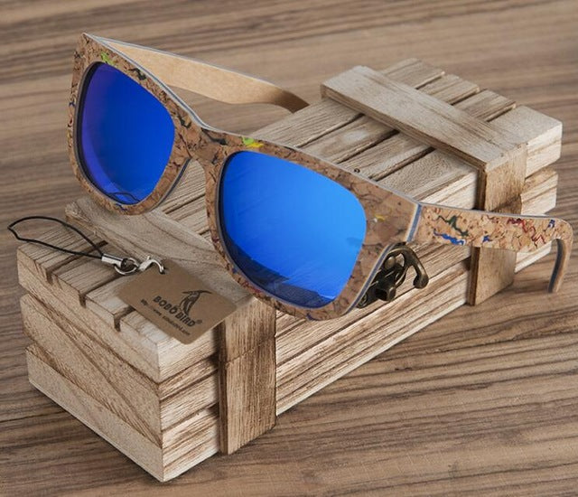 BOBO BIRD Unisex Square Bamboo Wood Sunglasses Men Women Oversized Mirror Coating Sun Glasses UV400 with Gift box-Free Shipping