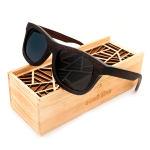 100% Natural Ebony Wooden Sunglasses Men's Luxury Brand Design Square Polarized Sun Glasses With Wooden Gift Box-Free Shipping