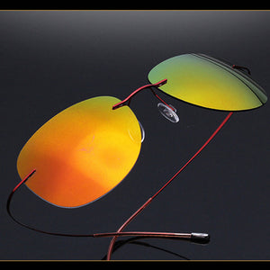 Polarized Sunglasses Men 2017 Luxury Brand Designer Sun Glasses Titanium Ultra-light Rimless Oculos RS105-Free Shipping