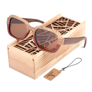 BOBOBIRD 100% Natural Two colors Wooden Sunglasses Men's Luxury Brand Designer Square Polarized Sun Glasses Vintage sunglass-Free Shipping