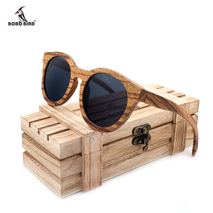 BOBO BIRD Polarized Round Sun Glasses Women Zebra Wood Sunglasses With Wooden Box Oculos De Sol Feminino-Free Shipping