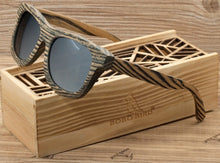BOBO BIRD Stripe Men's Wood Sunglasses Women Polarized Sun Glasses with Wooden Gift Box Steampunk-Free Shipping