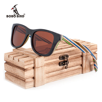 BOBO BIRD Brand 100% Nature Wooden Color Stripe Frame Sunglasses Women Man Polarized Steampunk Sun Glasses-Free Shipping