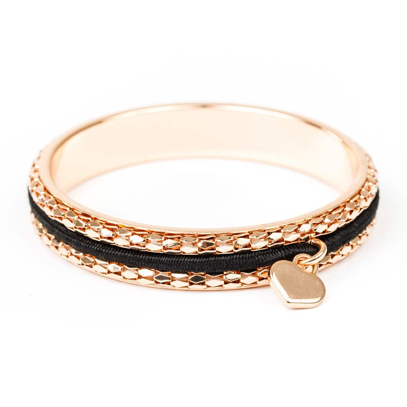 Busy Girl Bangle with 2 Extra Hair Ties – Rose Gold