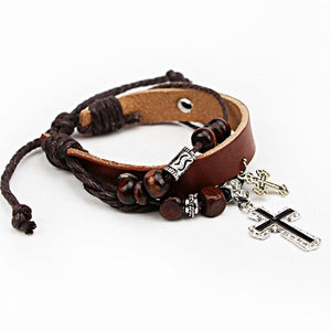 Multilayer Stainless steel Leather Wood Bible Cross Bracelets