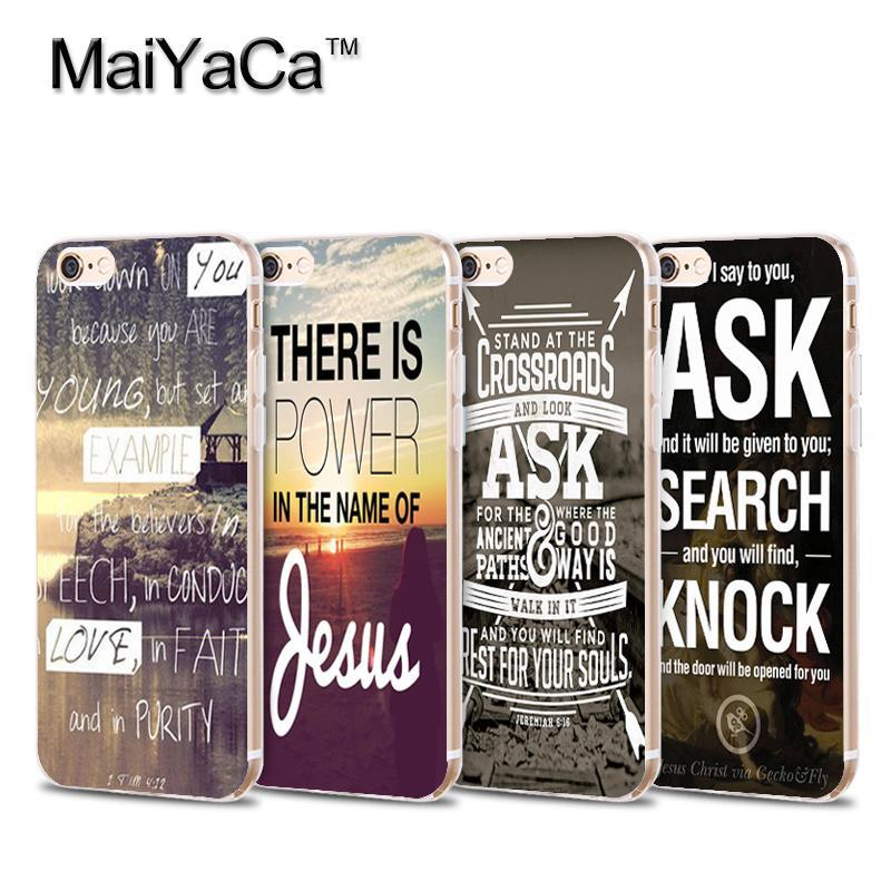 Christian Jesus Bible Verse Transparent TPU Soft Cell Phone Protective Cover For iPhone 5 5s 6 6s 7 plus 6plus 6splus 7plus case