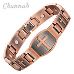 Channah 2017 Men Cross Pattern Antique Copper Magnetic Bracelet Christian Fashion Bangle Jewelry Jesus Christ Wristband Charm