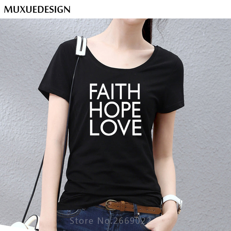 2018 FAITH HOPE LOVE Print Women tshirts Cotton Casual Funny t shirt For Lady Top Tee