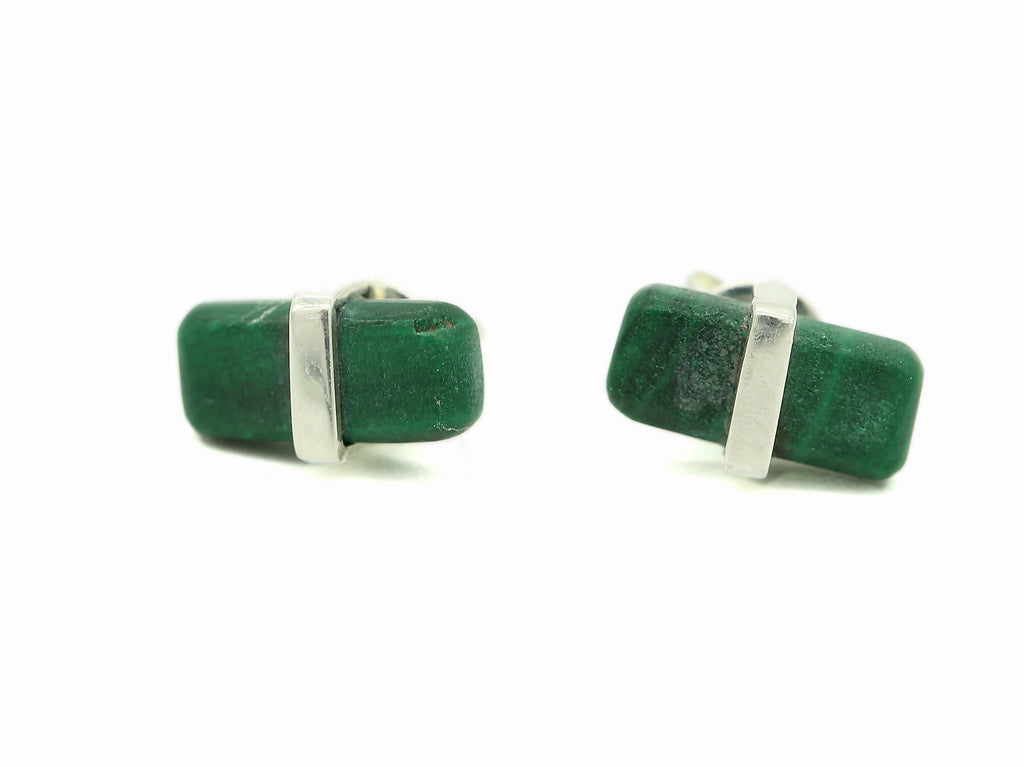 RECTANGULAR MINI STUDS - JASPER & MALACHITE