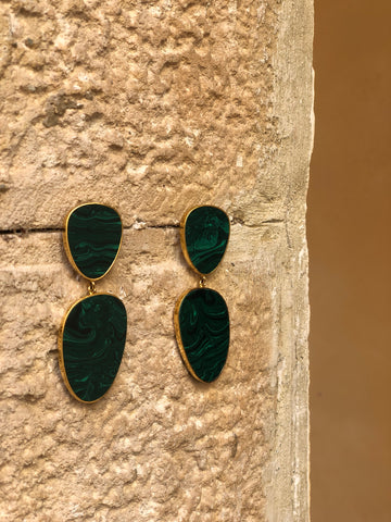 AURORA (DIA) EARRINGS - MALACHITE