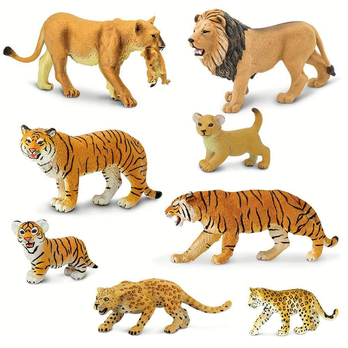 Wild Safari Big Cat Families educational toys - Set of 8 Toys