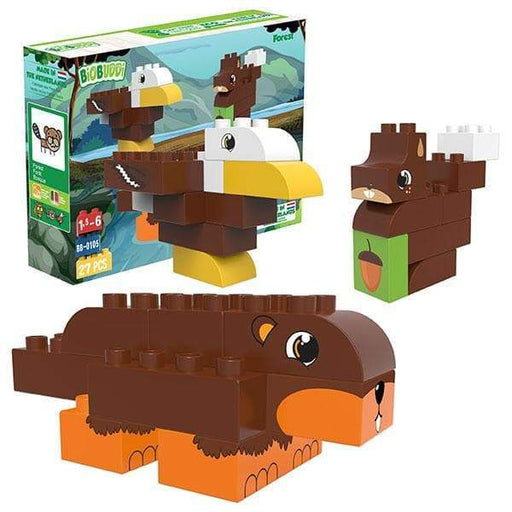 BiOBUDDi Eagle, Beaver & Squirrel Blocks - 27 Pc Forest Set - Safari Ltd®