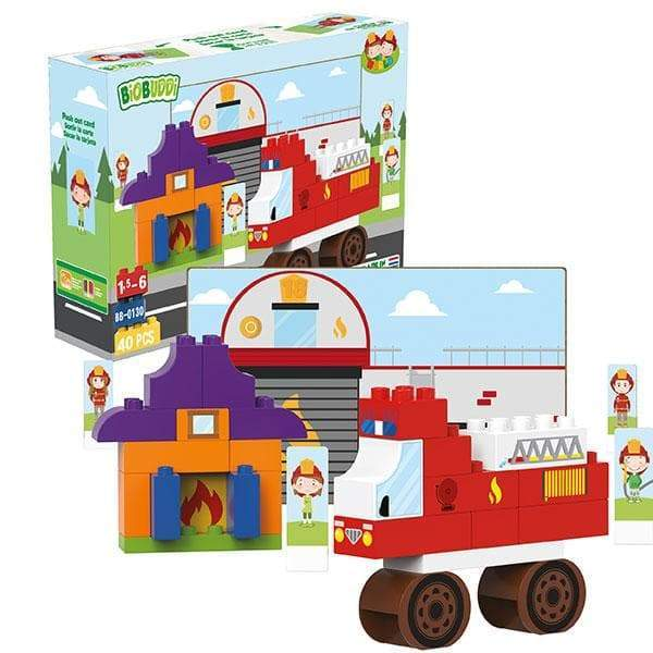 BiOBUDDi Fire Department Building Block Set - 40 Pcs - Safari Ltd®