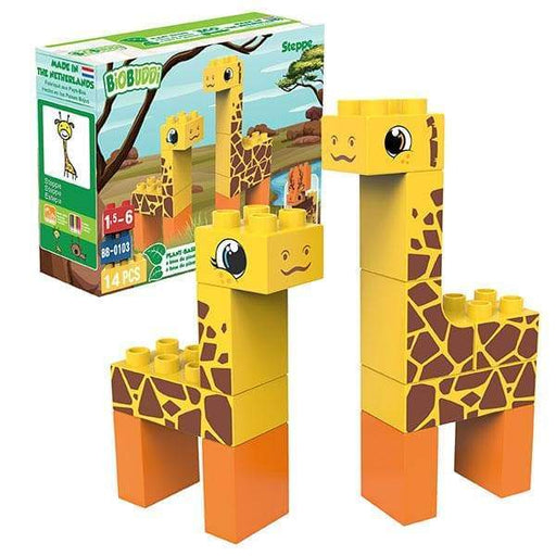 BiOBUDDi Giraffe & Moose Blocks - 14 Pc Steppe Block Set - Safari Ltd®