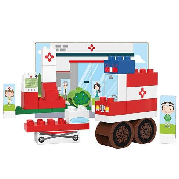 BiOBUDDi Hospital Building Block Set - 39 Pcs - Safari Ltd®