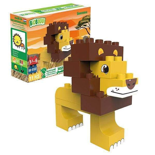 BiOBUDDi Lion & Ostrich Building Blocks - 11 Pc Savanna Set - Safari Ltd®