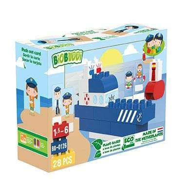 BiOBUDDi Police Boat Block Set - 28 Pcs - Safari Ltd®