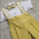 Boys yellow and white bow tie birthday suit