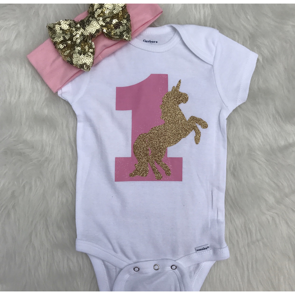 Pink and Gold Unicorn Onesie