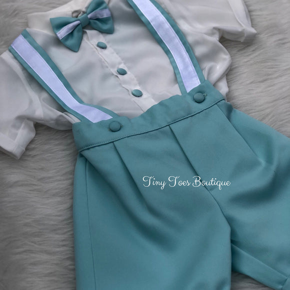 Boys blue and white bow tie birthday suit