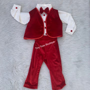 Boys Red and white Velvet bow tie birthday suit tuxedo