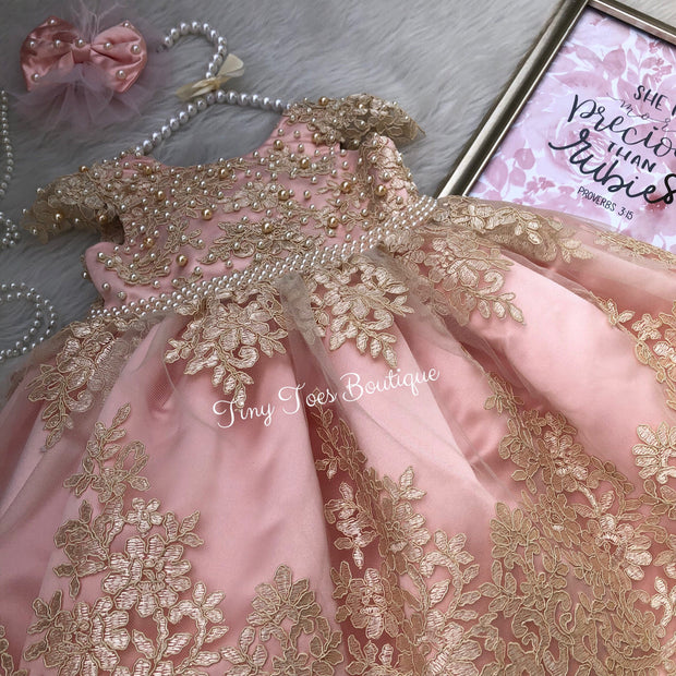Allison Dress (Pink and Gold)