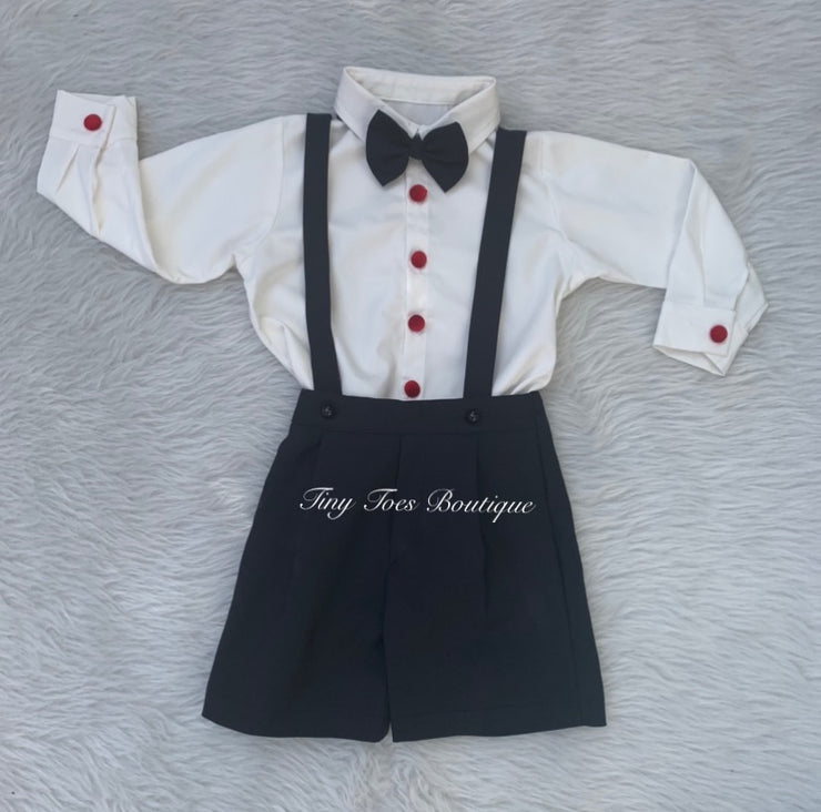 Boys black, red and white bow tie birthday suit