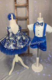 Boys Melanie navy blue bow tie birthday suit