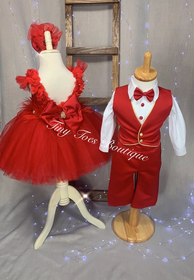 Boys Red and Gold bow tie birthday suit
