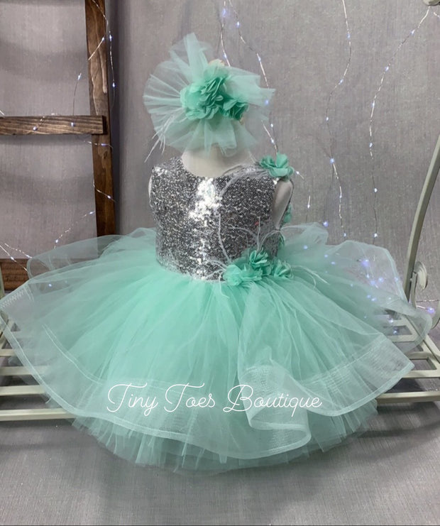 Jane Dress ( Mint Green & Silver )